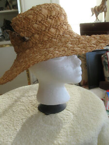 '60's GORGEOUS LADY'S VINTAGE WOVEN WIDE-BRIMMED STRAW HAT