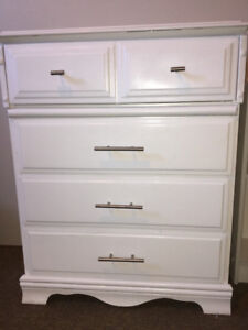 Tall boy white dresser.