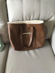 Faux fur trimmed leather-like tote bag