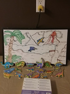 20 magnetic wooden dinosaurs with scenic board