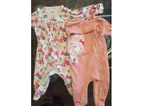 Baby girl NEXT Babygrows 3-6 Months and Vests 3-6 Months