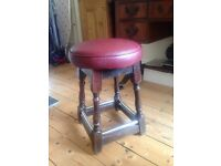 Vintage red leather bar stool