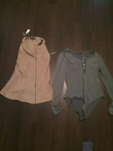 NEW FAUX SUEDE TOP AND BODY SUIT SMALL