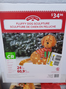 Christmas Fluffy Dog Sculpture