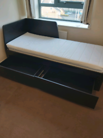 IKEA Flekke Brown Day Bed (Single To Double Bed) 2 Mattresses inc
