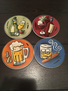 4 Different Alcohol Themed Coasters - Brand New