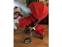 Stokke Xplory v4 pram with carrycot and all extras in red
