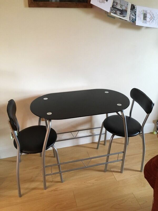 Glass Black Two Seater Dining Table and Chairs in Bath Somerset