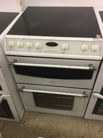 Belling White Electric Cooker , Double Oven, Ceramic,