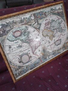 Beautiful Large framed Puzzle Map