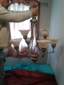 DINNING ROOM OR ENTRANCE CHANDELIER WITH 2 LIGHT FIXTURE