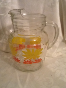 1950's Flower Decorated Juice Water Pitcher