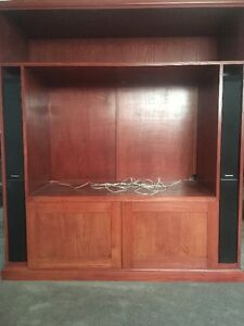Red Oak TV Display Cabinet with Speakers