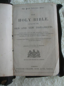 OLD LEATHER-BOUND ANTIQUE SCOTTISH HOLY BIBLE IN PEARL TYPE