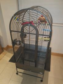 Parrot Cage & 3 Large Perches
