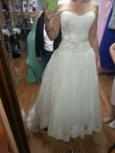 Tule Embroidered Wedding Dress REDUCED