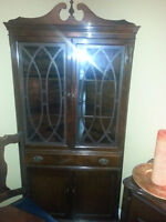 ANTIQUE CORNER CHINA CABINET NOW 295.00 2ND ANNIVERSARY  SALE