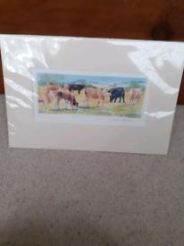 Cows in a field Print