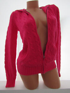 RALPH LAUREN SPORT POLO CABLE KNIT HOODIE HOT PINK SWEATER