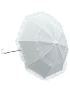 Ladies Victorian White Long Handle Parasol Umbrella Fancy Dress Accessory New