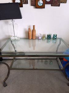 REDUCED Beveled Glass matching set of tables