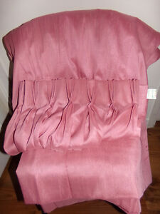 Lg. Window/Patio Door Rose Coloured Semi-Sheer Pleated Curtains