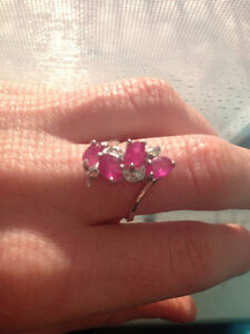 Genuine RUBY Ring!! Sterling, Size 7.25 with Cubic Zirconias