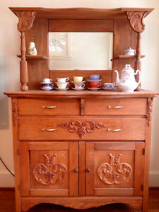 Antique Highboy Cabinet, Sideboard, Serving Buffet, Dish Hutch