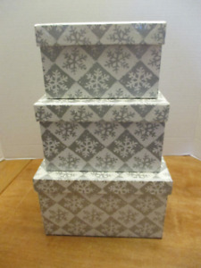 Snowflake Stacking/nesting Boxes - set of 3 - NEW