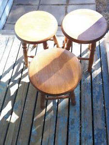 4  solid wood  n.s. built  milking stools