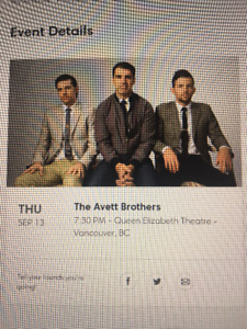 Avett Brothers -2 Main Flr Tickets. Thurs Sept 13, Vancouver