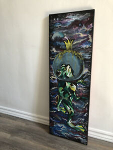 Frog in Space Canvas Acrylic Painting Made by me
