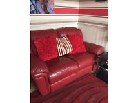 Red Dfs sofa 3x2 seetee recliner