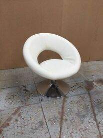 White faux leather chairs x 5