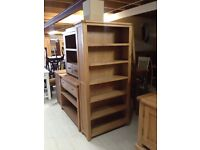 Tall oak bookcase new sale
