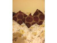 Three Very Good Qulity Matching Cushions in Burgandy Flower Pattern