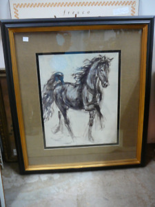 """Large decorator horse print """"Easy Cantor"""" one of pair"""