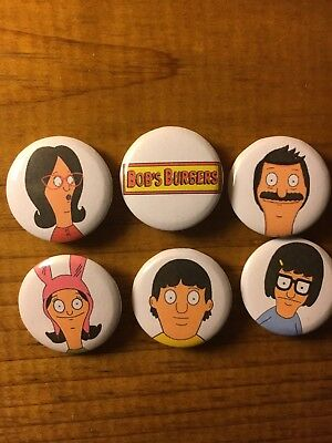 Bobs Burgers 1 Inch Button Pin Set Bob Tina Gene Louise Linda Bobs Burgers Logo (Bobs Burgers Linda)
