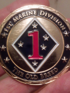 LARGE 50mm FIRST MARINE DIVISION OLD BREED OFFICIAL COIN.