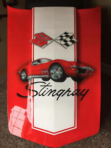 Early 70's Corvette Hood Airbrushed for Garage ManCave Shop