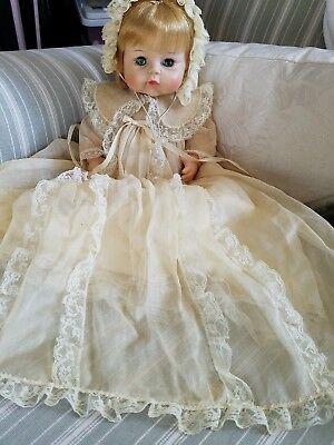 Vintage 1965 Madame Alexander Sweet Tears Baby Doll Christening Gown Blonde