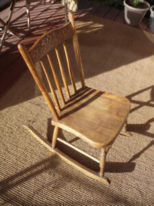 Small Antique Pressback Wood Rocking Chair - for Kids or Adults!