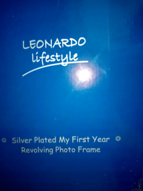 Silver plated my first year revolving photo frame