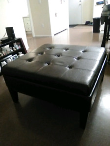 Large leather and cherry wood ottoman