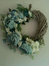Heart artificial flower door wreath or home decor