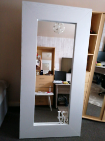 White wood affect Large mirror.