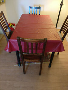 Dining Table + 4 Chairs + Table Cloth