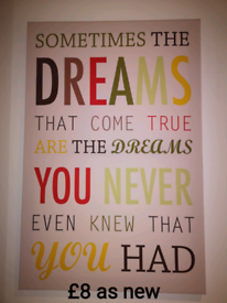 Canvas picture inspirational quote dreams, as new