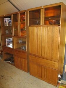 MID CENTURY 3 OAK FINISH DISPLAY/ENTERTAINMENT CABINETS FROM EST