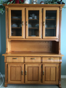 Solid Oak Table, Chairs, Hutch and Buffet